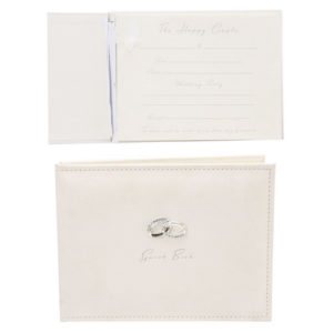 Amore Suede Guest Book With Silver RingsAmore Suede Guest Book With Silver Rings