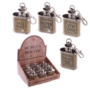 Worlds Best Dad Gift - Stainless Steel Hip Flask (1oz)
