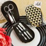 Modern Geometric Design Shiny Black And Gold Manicure SetModern Geometric Design Shiny Black And Gold Manicure Set