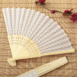 Silver scallop silk folding fan favorSilver scallop silk folding fan favor