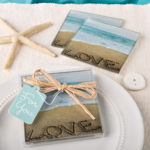 Beach Love Themed Set of 2 Glass Coasters From SolefavorsBeach Love Themed Set of 2 Glass Coasters From Solefavors