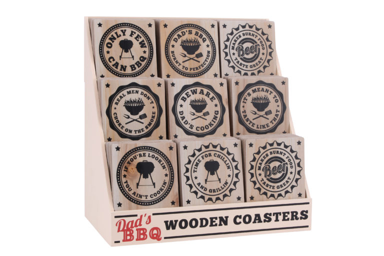 Assortment of 9 Dad's BBQ Wooden Coasters