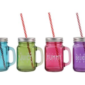 4 Assorted Garden Party Drinking Jars4 Assorted Garden Party Drinking Jars
