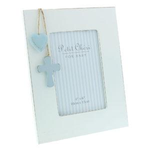 Petit Cheri' Baby Collection MDF Frame Cross And Heart 4x6 BluePetit Cheri' Baby Collection MDF Frame Cross And Heart 4x6 Blue