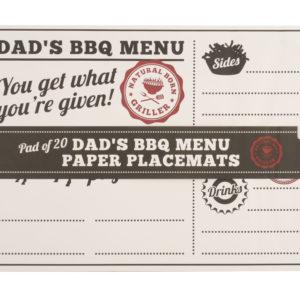 Pad Of 20 'Dad's BBQ Menu' Paper PlacematsPad Of 20 'Dad's BBQ Menu' Paper Placemats