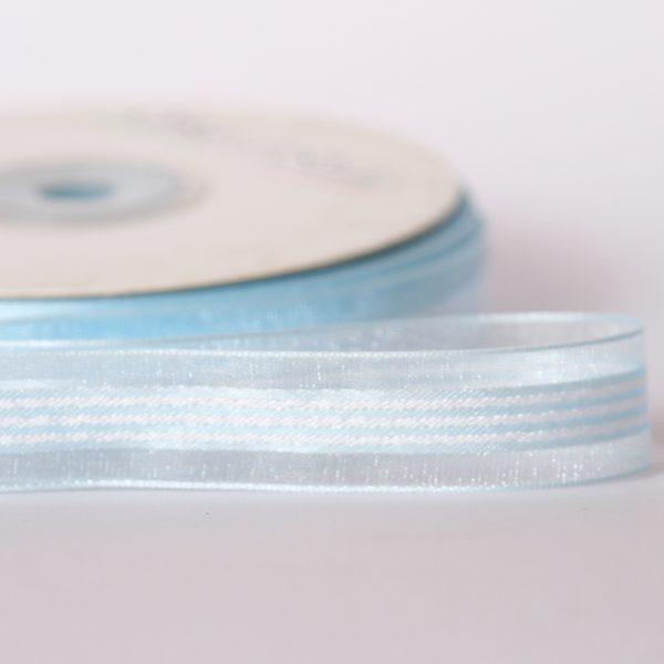 Striped Organza Light Blue Ribbon 15mm x 25M