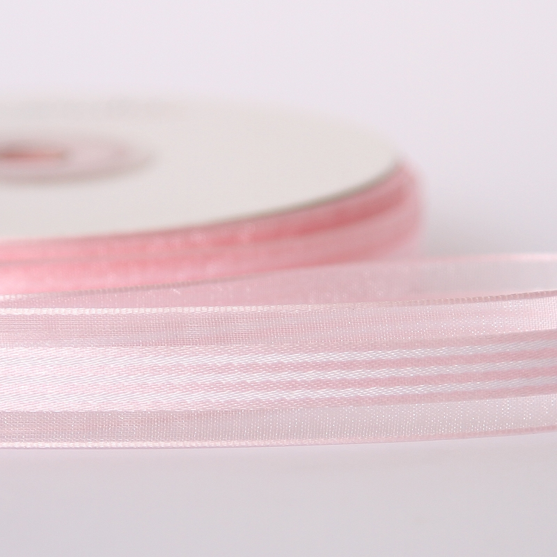 Striped Organza Pink Ribbon 15mm x 25M