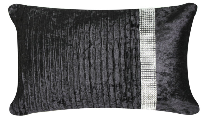Crushed Velvet Band Cushion Black