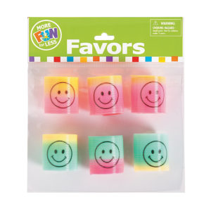 Pack of 6 Mini Rainbow Smiley Face Magic SpringsPack of 6 Mini Rainbow Smiley Face Magic Springs