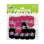 Pack of 12 Metal Pink Pirate Dog Tag NecklacesPack of 12 Metal Pink Pirate Dog Tag Necklaces