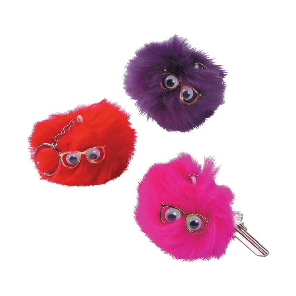 Pack of 6 Plush Pom-Pom with Face Key Chains