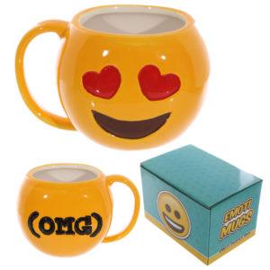 Fun Collectable Ceramic Love Hearts Face Emotive Mug