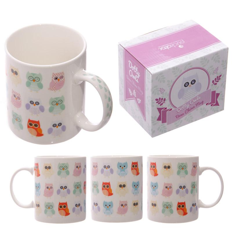Fun Dotty Owls Design New Bone China Mug
