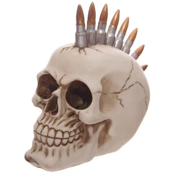 Funky Gruesome Bullet Mohican Skull Ornament