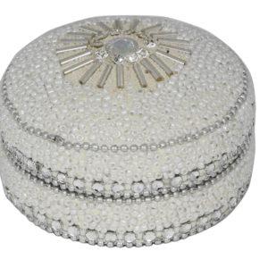 8cm Glitter And Beads Round Trinket Box White8cm Glitter And Beads Round Trinket Box White