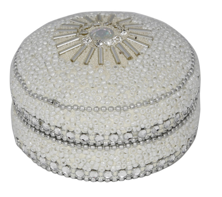 8cm Glitter And Beads Round Trinket Box White