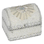 5cm Glitter And Beads Domed Trinket Box White5cm Glitter And Beads Domed Trinket Box White