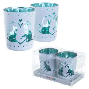 Glass Candleholder Set of 2 - Cat Design