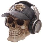 Gruesome Skull Head Money Box with Baseball Cap and Headphones