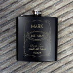 Personalised Hip Flask 4oz Matt BlackPersonalised Hip Flask 4oz Matt Black