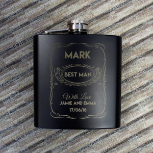 Personalised Hip Flask 4oz Matt BlackPersonalised Hip Flask 4oz Matt Black