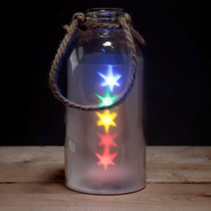 Decorative Glass Jar with Multicoloured LED Stars LightDecorative Glass Jar with Multicoloured LED Stars Light