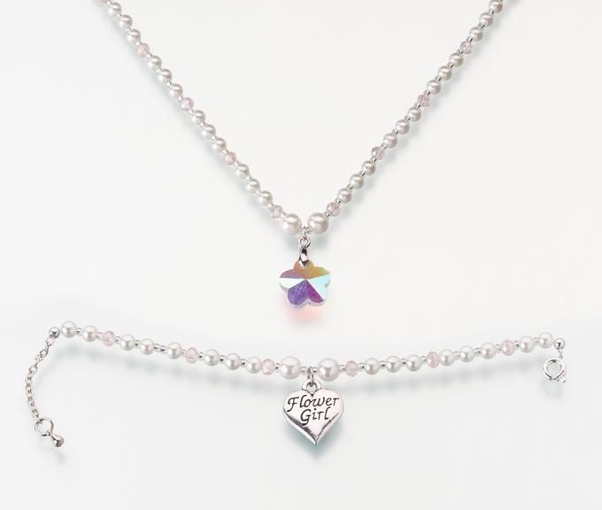 Flower Girl Necklace And Bracelet Set