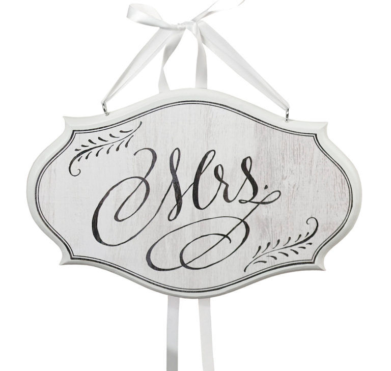 Mrs. Small Oval Wooden Sign White