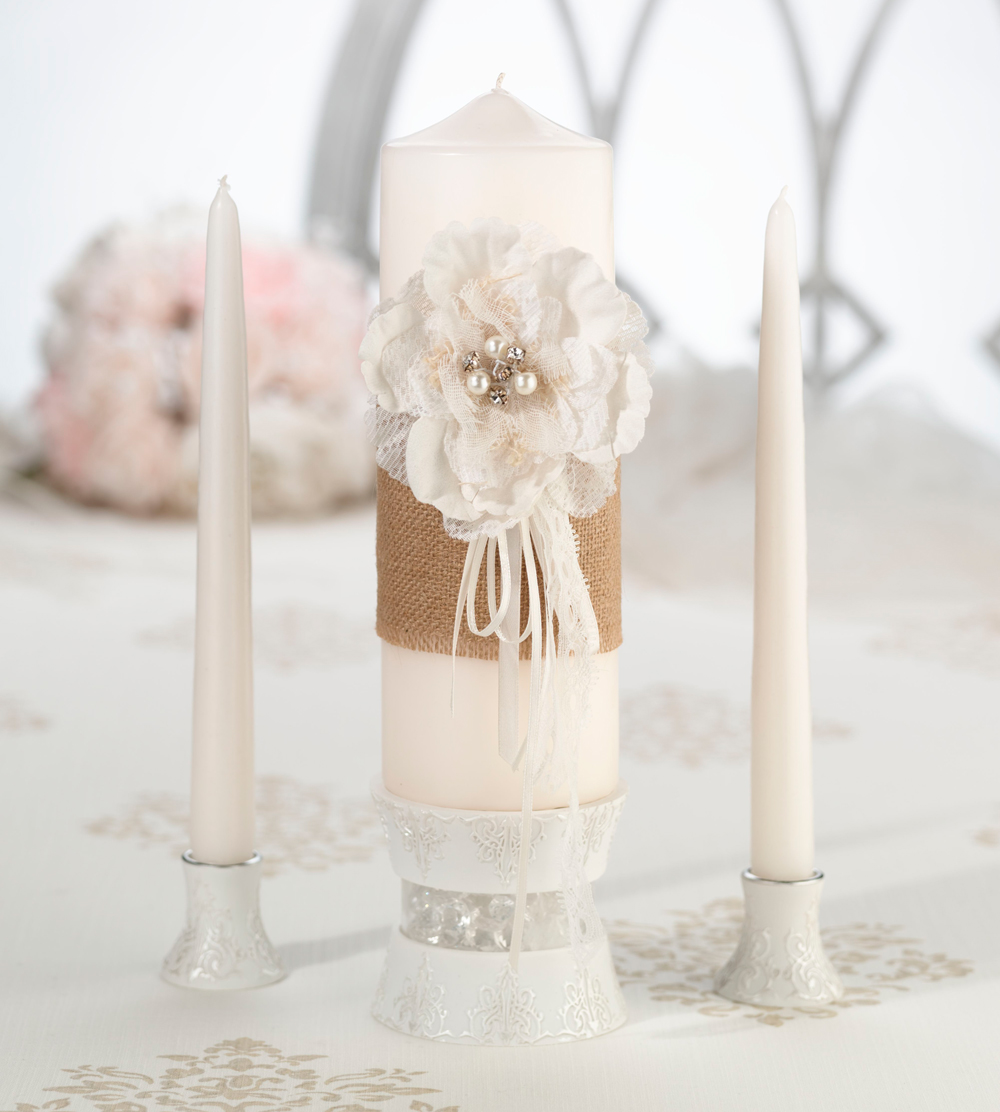 Burlap And Lace Candle Set