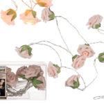 Garland with rose coloured mini roses & 10 warm white LEDGarland with rose coloured mini roses & 10 warm white LED