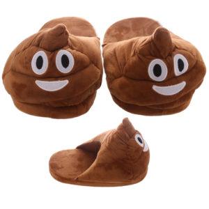 Poop Open Back Emotive Pair of Unisex Slippers