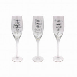 Set of 3 Assorted Silver Prosecco FlutesSet of 3 Assorted Silver Prosecco Flutes