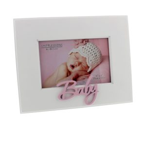 Occasions' White MDF Frame Laser Cut Word 'Baby' PinkOccasions' White MDF Frame Laser Cut Word 'Baby' Pink