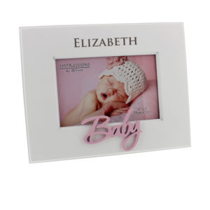 Personalised Occasions' White MDF Frame Laser Cut Word 'Baby' PinkPersonalised Occasions' White MDF Frame Laser Cut Word 'Baby' Pink