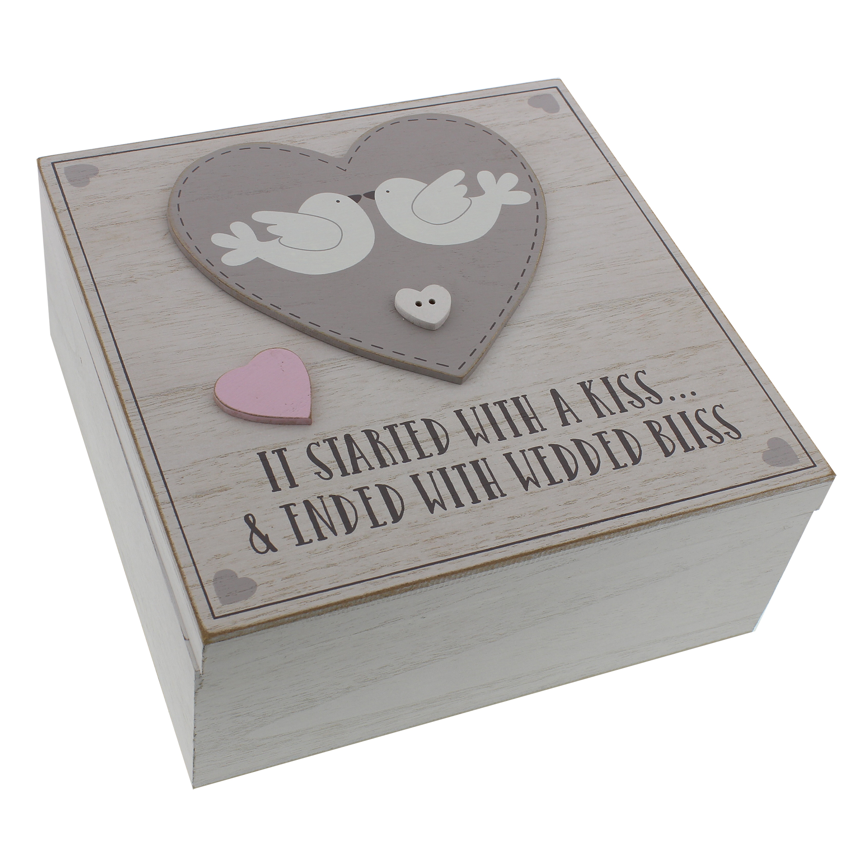 Love Story MDF Square Keepsake Box 'It Started With A Kiss'