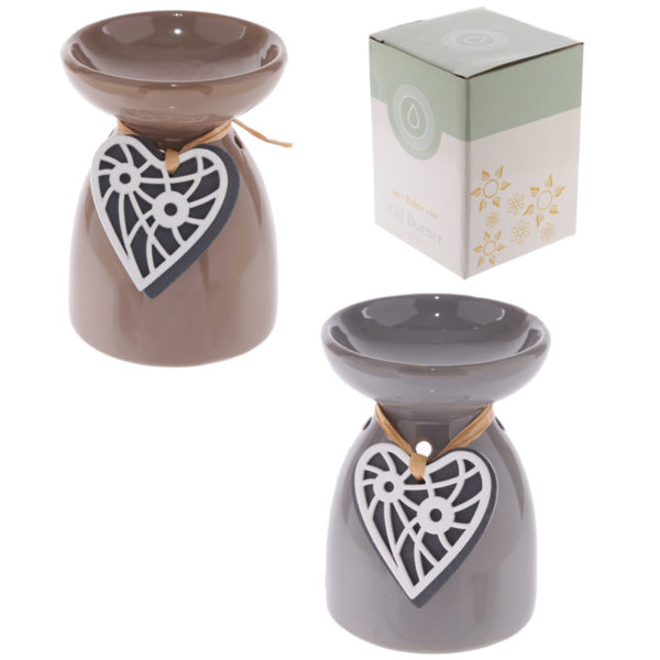 Ceramic Oil Burner – Wooden Heart Motif