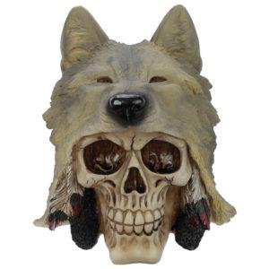 Fantasy Skull with Wolf Head Ornament