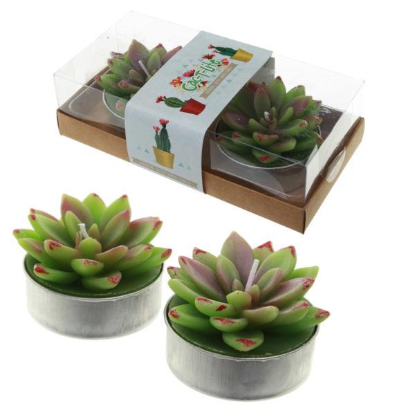 Fun Decorative Open Leaf Cactus Candles – Set of 2 Tea Lights
