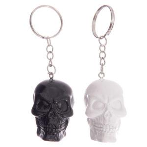 Fun Novelty Black and White Skull Keyring