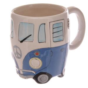 Funky Novelty Blue Camper Van Design Ceramic Mug