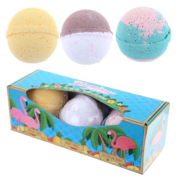 Handmade Bath Bomb Set of 3 – Tropical Fragrances in Gift Box