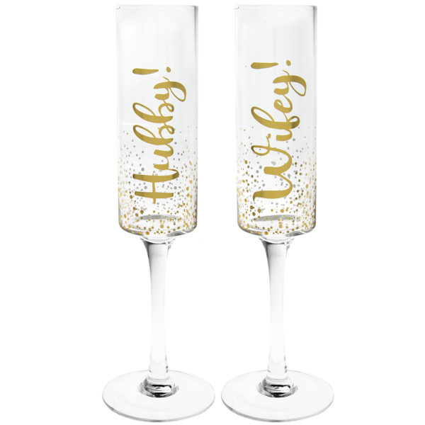 Set of 2 Hubby & Wifey Flutes – Gold Mad Dots Design