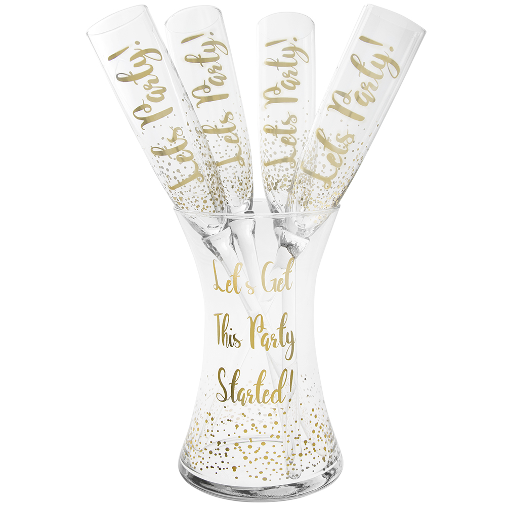 Set of 4 Let's Party Stemless Flutes  & 'Get The Party Started' Ice Bucket – Gold Mad Dots Design