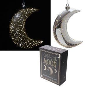 Silver Hanging LED Moon - Large Metallic