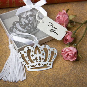 Silver Crown Design Bookmark Favours With White TasselCrown Design Bookmark Favors