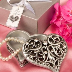 Exquisite Siver Heart Shaped Curio Trinket BoxExquisite Heart Shaped Curio Trinket Box