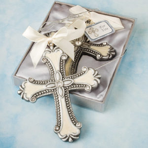 Decorative Cross Ornament Favours - Ivory And SilverDecorative Cross Ornament Favors