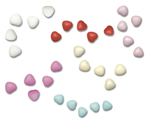 1kg Box Chocolate Heart Dragees 1cm Assorted Colour Box1kg Chocolate Heart Dragees 1cm Assorted Colour Box