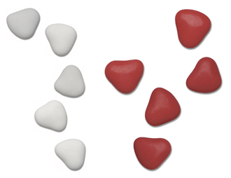 1kg Box Chocolate Heart Dragees Sweets 3cm Red