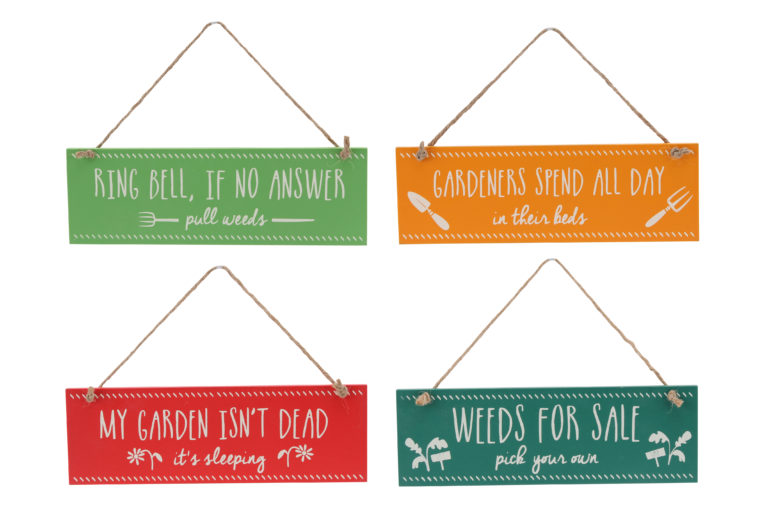4 Assorted Hanging Slogan Signs
